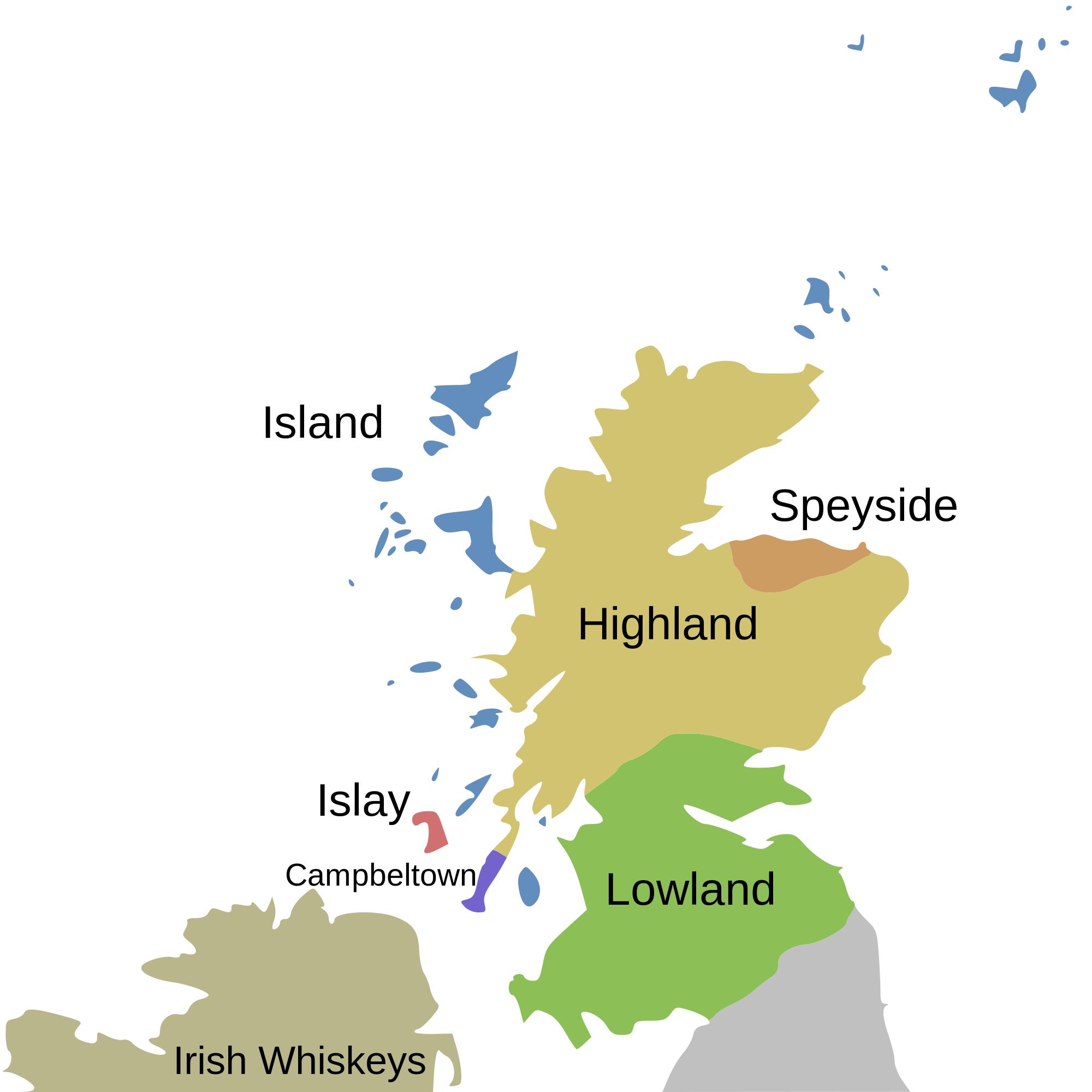 Schotland whisky gebieden